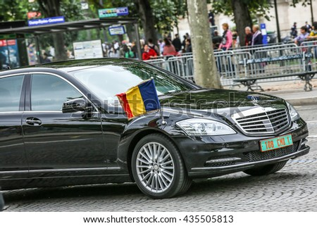 PARIS, FRANCE - JULY 14, 2014: Tchad Diplomatic car during Military parade (Defile) in Republic Day (Bastille Day). Champs Elysees. - stock photo