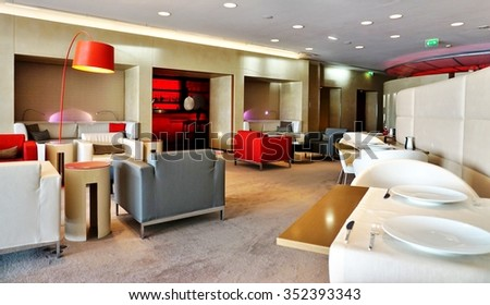 PARIS, FRANCE -15 JULY 2015- The Air France (AF) First Class lounge Salon La Premiere at Roissy Charles de Gaulle International Airport (CDG) has been voted best airline first class lounge by Skytrax. - stock photo