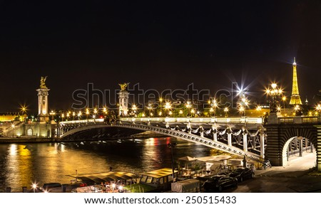 PARIS, FRANCE - JULY 14 2014: The Eiffel Tower and Pont Alexandre III at night in Paris, France, July 14, 2014 - stock photo