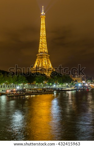 Paris, France, July 25.2015 - the Eiffel Tower in Paris at night, France - stock photo