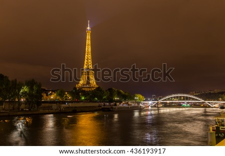 Paris, France, July 26.2015 - the Eiffel Tower in Paris at night, France - stock photo
