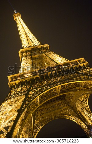 PARIS, FRANCE - JULY 27, 2015: The eiffel tower in the evening  - stock photo