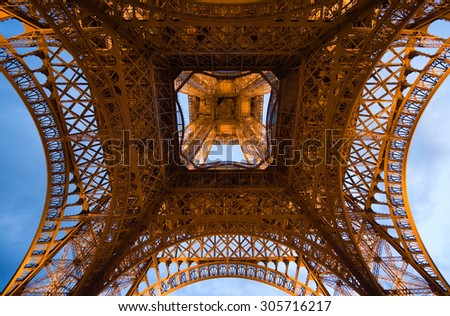 PARIS, FRANCE - JULY 27, 2015: The Eiffel tower in twilight in Paris in France - stock photo