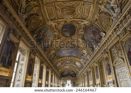 PARIS, FRANCE- JULY 29: The Napoleon apartman in the Louvre Museum on July 29, 2014. The Louvre Museum is one of the largest museums of the world - stock photo