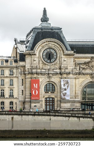 PARIS, FRANCE - JULY 13, 2014: View of D'Orsay Museum. D'Orsay - a museum on left bank of Seine, it is housed in former Gare d'Orsay. D'Orsay holds mainly French art dating from 1848 to 1915. - stock photo
