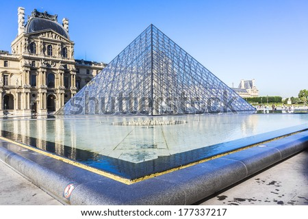 PARIS, FRANCE - JULY 16, 2012: View of Inverted Pyramid (architect Pei Cobb Freed) in Louvre Museum. With 8.8 million annual visitors, Louvre is consistently most visited museum worldwide. - stock photo