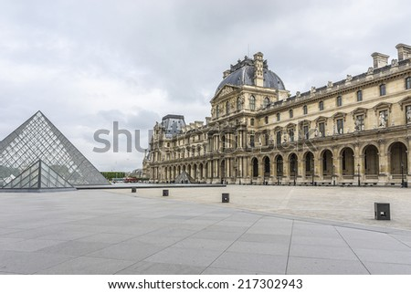 PARIS, FRANCE - JULY 14, 2014: View of Louvre building in Louvre Museum. Museum is one of the largest and most visited museums worldwide. - stock photo