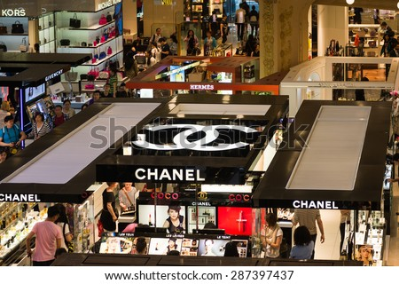 PARIS, FRANCE - JUN 6, 2015: Chanel section in the Galeries Lafayette city mall. It was open in 1912 - stock photo