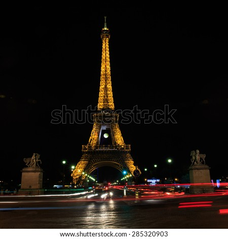PARIS, FRANCE - JUNE 5 2015: Eiffel Tower at night is the most visited monument in France and the most famous symbol of Paris, June 5, 2015 - stock photo