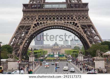 PARIS, FRANCE - JUNE 3: Eiffel Tower is the most visited monument in France and the most famous symbol of Paris, June 3, 2015 - stock photo