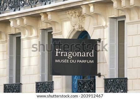 PARIS, FRANCE - JUNE 2014: Facade of building in Paris where is the Fragonard Perfume Museum June 13, 2014  - stock photo