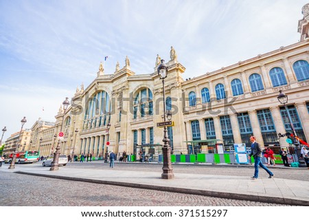 Paris, France - June 1, 2015: Inside Gare du Nord train station, beautiful large building facade as seen from outside - stock photo
