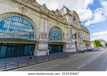 PAris, France  - June 1, 2015: Orsay Museum Paris, Musee d'Orsay, holding mainly French art and the largest collection of impressionist and post-impressionist masterpices in the world.  - stock photo