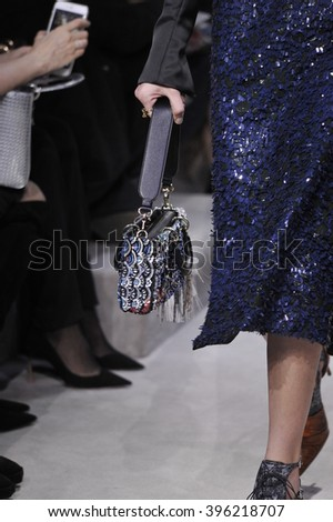 PARIS, FRANCE - MARCH 04: A model walks the runway during the Christian Dior show as part of the Paris Fashion Week Womenswear F/W2016/17 on March 4, 2016 in Paris, France. - stock photo