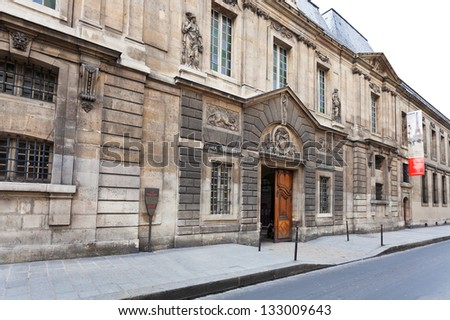 PARIS, FRANCE - MARCH 6: Carnavalet Musee - museum of history of Paris. it was opened to the public in 1880 in Paris, France on March 6, 2013 - stock photo