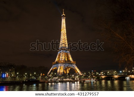 PARIS, FRANCE - MARCH 13: Ceremonial lighting of the Eiffel tower on March 13, 2010 in Paris, France. - stock photo