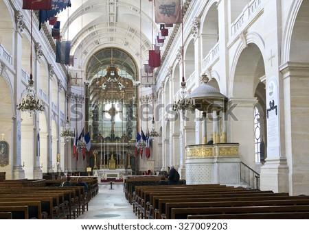 PARIS, FRANCE - MARCH 14, 2012: Interiors of Chapel of Saint Louis des Invalides in Paris on  March 14, 2012 in in Paris, France - stock photo