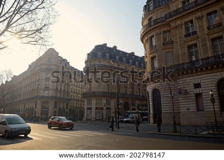 Paris, France  March 27, 2014: Morning scene taken in Paris nearby Galeries Lafayette - stock photo