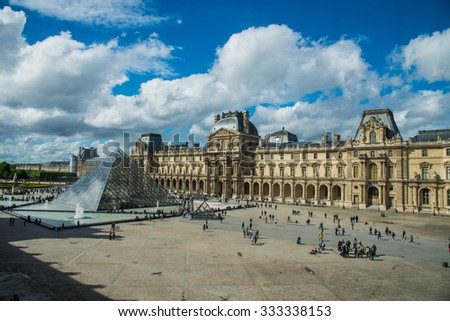 Paris, France - May 3, 2015: Aerial view of the cloudy day at Louvre museum, Paris, France - stock photo
