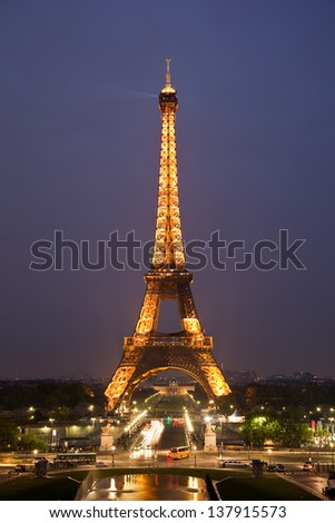 PARIS, FRANCE - MAY 14: Ceremonial lighting of the Eiffel tower on May 14, 2010 in Paris, France. The Eiffel Tower is the most visited monument of France with about 6 million visitors every year. - stock photo