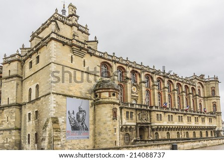 PARIS, FRANCE - MAY 17, 2014: Chateau de Saint-Germain-en-Laye in west of Paris. It was built in 1124 by Louis VI as fortified hunting-lodge. Chateau now - National Museum of Archaeology.  - stock photo