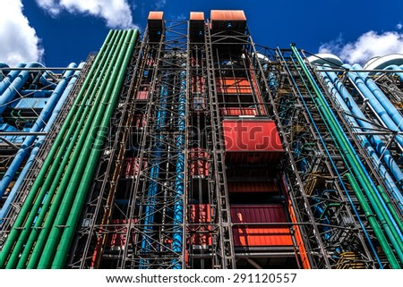 PARIS, FRANCE - MAY 13, 2014: Communications and Ventilation pipes outside the Centre Georges Pompidou. Centre Georges Pompidou (1977) was designed in style of high-tech architecture. - stock photo