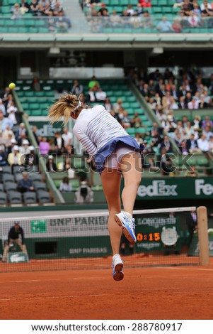 PARIS, FRANCE- MAY 29, 2015:Five times Grand Slam champion Maria Sharapova during third round match at Roland Garros 2015 in Paris, France - stock photo