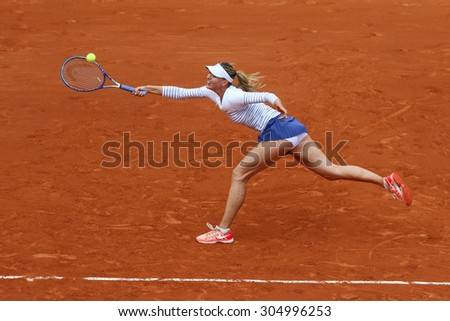 PARIS, FRANCE- MAY 29, 2015: Five times Grand Slam champion Maria Sharapova in action during her third round match at Roland Garros 2015 in Paris, France - stock photo