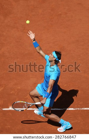 PARIS, FRANCE- MAY 30, 2015:Fourteen times Grand Slam champion Rafael Nadal during third round match at Roland Garros 2015 in Paris, France - stock photo