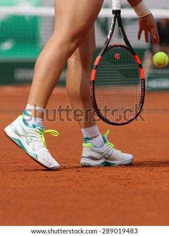 PARIS, FRANCE- MAY 29, 2015:  Grand Slam champion Samantha Stosur of Australia wears custom  Asics Gel Resolution shoes during third round match at Roland Garros 2015 in Paris, France - stock photo