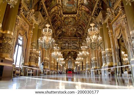 PARIS, FRANCE - MAY 21, 2014 : Inside the auditorium of the Opera Garnier - stock photo