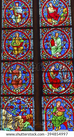 PARIS, FRANCE - MAY 31, 2015  Kings Jesus Christ Stained Glass Notre Dame Cathedral Paris France.  Notre Dame was built between 1163 and 1250 AD. - stock photo