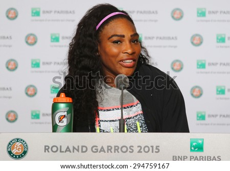 PARIS, FRANCE- MAY 30, 2015: Nineteen times Grand Slam champion Serena Willams during press conference after third round match at Roland Garros 2015 in Paris, France - stock photo