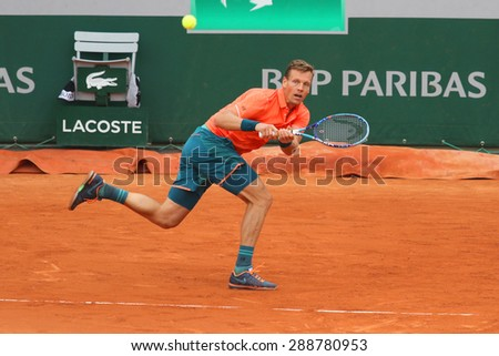 PARIS, FRANCE- MAY 29, 2015: Professional tennis player Tomas Berdych of Czech Republic  during third round match at Roland Garros 2015 in Paris, France - stock photo
