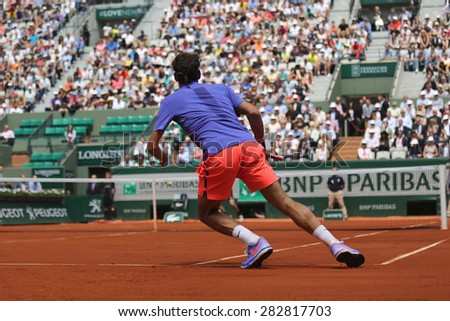 PARIS, FRANCE- MAY 27, 2015: Seventeen times Grand Slam champion Roger Federer during second  round match at Roland Garros 2015 in Paris, France - stock photo