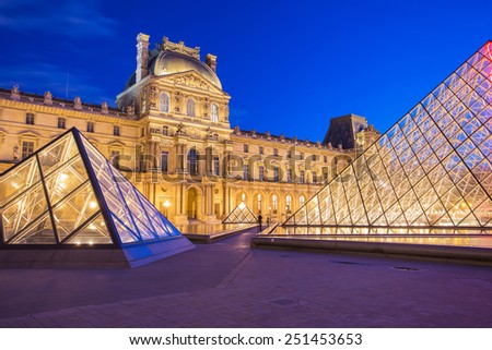 Paris, France - May 13, 2014: The Louvre Museum is one of the world's largest museums and a historic monument. A central landmark of Paris, France. - stock photo