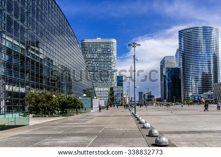 PARIS, FRANCE - MAY 13, 2014: View of business district of Defense to the west of Paris. Defense is biggest business district in France and most of large companies have offices here. - stock photo