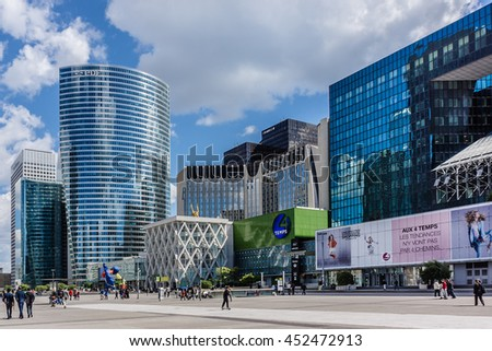 PARIS, FRANCE - MAY 14, 2014: View of business district of Defense to the west of Paris. Defense is biggest business district in France and most of large companies have offices here. - stock photo