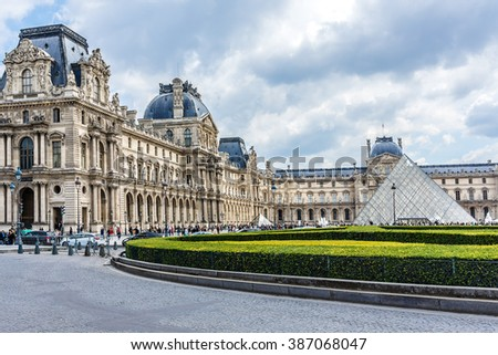 PARIS, FRANCE - MAY 14, 2014: View of Louvre building in Louvre Museum. Louvre Museum is one of the largest and most visited museums worldwide. - stock photo