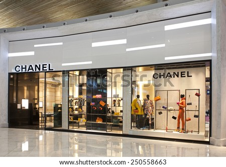 PARIS, FRANCE - NOVEMBER 12, 2014: Chanel store at the Paris Charles de Gaulle Airport. Chanel S.A. is a high fashion house, founded in 1909; there are about 310 Chanel boutiques worldwide. - stock photo