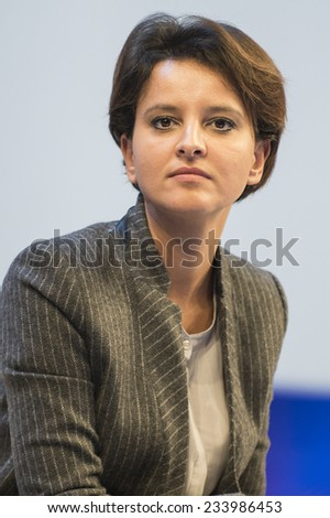 PARIS, FRANCE - NOVEMBER 26, 2014 : Najat Vallaud-Belkacem during a debate about undid the school rebuilding the 97th congress of France mayors in exhibition center of porte de versailles - stock photo