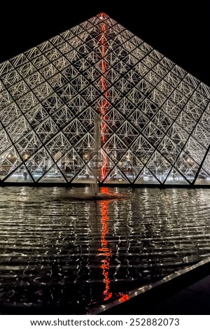 PARIS, FRANCE - NOVEMBER 12, 2014: Night view of famous pyramid in Louvre Museum courtyard. Louvre Museum is one of the largest and most visited museums worldwide. - stock photo