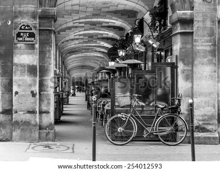 Paris, France - november 18, 2014:urban street view in Paris. Bistro cafe parisian - stock photo