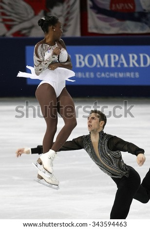 PARIS, FRANCE - NOVEMBER 16, 2013: Vanessa JAMES / Morgan CIPRES of France perform free program at Trophee Bompard ISU Grand Prix at Palais Omnisports de Bercy. - stock photo