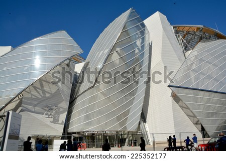 PARIS FRANCE OCT 19: The building of the Louis Vuitton Foundation started in 2006, is an art museum and cultural center the $143 million museum has recently been completed in Paris France oct, 19 2014 - stock photo