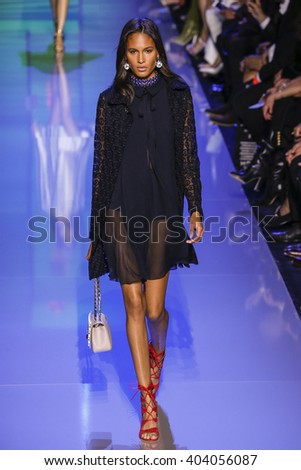 PARIS, FRANCE - OCTOBER 03: Cindy Bruna walks the runway during the Elie Saab show as part of the Paris Fashion Week Womenswear Spring/Summer 2016 on October 3, 2015 in Paris, France.  - stock photo