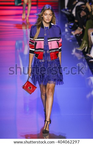 PARIS, FRANCE - OCTOBER 03: Gigi Hadid walks the runway during the Elie Saab show as part of the Paris Fashion Week Womenswear Spring/Summer 2016 on October 3, 2015 in Paris, France.  - stock photo