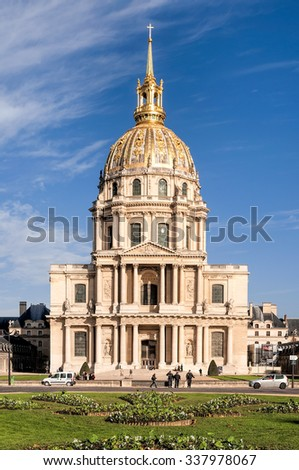 Paris/France - October 6, 2009: Les Invalides is a complex of museums and monuments in Paris,and the burial site for some of France's war heroes,notably Napoleon Bonaparte - stock photo
