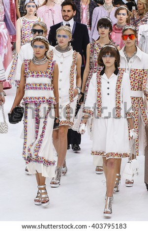 PARIS, FRANCE - OCTOBER 06: Models walk the runway finale during the Chanel show as part of the Paris Fashion Week Womenswear Spring/Summer 2016 on October 6, 2015 in Paris, France. - stock photo