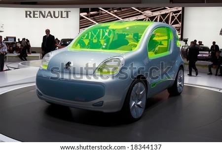 PARIS, FRANCE - OCTOBER 02: Paris Motor Show  on October 02, 2008, showing Renault ZE Concept, front view. - stock photo